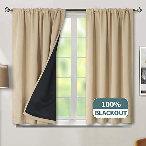 BGment Thermal Insulated 100% Blackout Curtains for Bedroom with Black Liner, Double Layer Full Room Darkening Noise Reducing Rod Pocket Curtain (52 x 45 Inch, Beige, 2 Panels) (Curtain Room Darkening Liner)