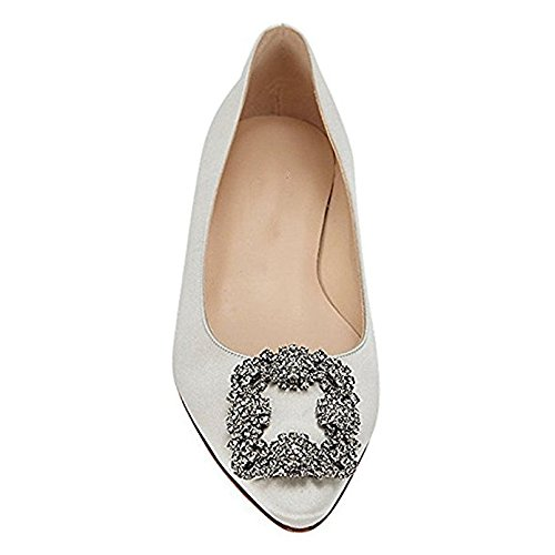 Mujeres tacón tacón Vestido Zapatos Tacon Gris de Chris de tacón clásico en Grueso Satinado T Diamantes Alto con 4xCwqAB