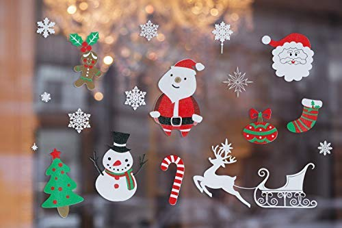 Christmas Window Sticker, YmanTon Christmas Sticker Decorations Glass Window Sticker Wall Stickers, Christmas Colored Flashing PVC Static Windows Snowflakes for Family Cafes Clothing Stores Decoration