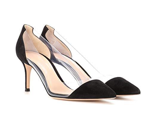 Bride Soirée Bout Transparent Pvc Chaussures Pompes Cour heel escarpins Pointu Mariage Femmes Edefs Kitten Blacksuede 7xYaPwz