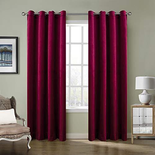 ned Premium Velvet Curtain Burgundy Red 50Wx96L Inch (1 Panel), Eyelet Grommet for Livingroom Bedroom Theater Studio, Birkin Collection ()