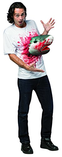 Rasta Imposta Men's Sharknado - T-shirt with Shark, White/Red, One Size