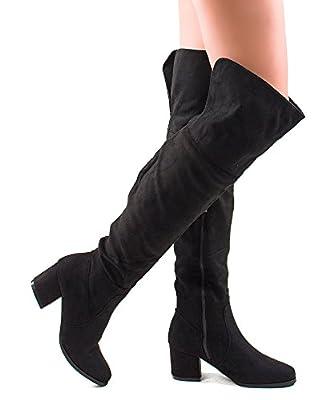 RF ROOM OF FASHION Women's Block Heel Pullon Over The Knee Boots