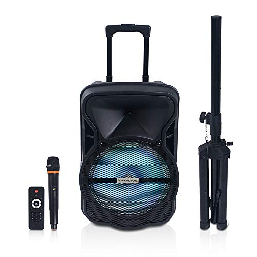 Sound Town 12-inch 2-Way Portable PA Speaker with Built-in Rechargeable Battery, 1 Wireless Mic, 1 Speaker Stand, Bluetooth, USB, SD Card Reader, LED Light (OPIK-12V2PD)