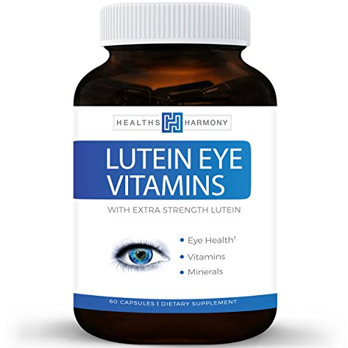 Best Lutein Eye Vitamins - Vision Support Supplement for Dry Eyes & Vision Health Care - Bilberry - Proudly Made in the USA - 100% Money Back Guarantee - 60 Capsules