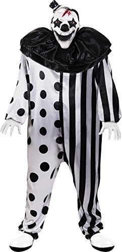 Killer Clown Costumes For Men (Kangaroo's Halloween Costumes - Killer Clown Costume, Black, White, Large (One Size Fits Most))