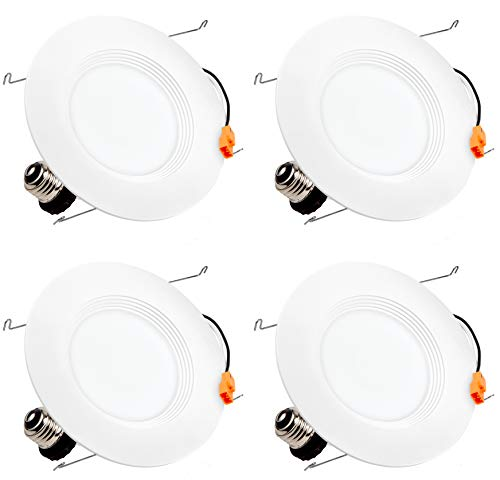"""Hyperikon 6"""" LED Recessed Lights (5 Inch Compatible), 14W Downlight Dimmable (75W Equiv.) LED Retrofit Lighting Fixture, Ceiling Recess Can Lights, Halo Retrofit Baffle Trim, 3000K, CRI84, UL (4 Pack)"""