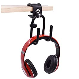 YYST Clamp-On Headphone Holder Desk Side Headphone Hanger to Reduce Desk Clutter (4 lb. Capacity)- No Headphone (1)
