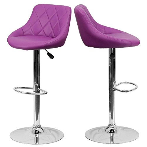 - Contemporary Bar Stool Bucket Seat Design Hydraulic Adjustable Height 360-Degree Swivel Seat Sturdy Steel Frame Chrome Base Dining Chair Bar Pub Stool Home Office Furniture - Set of 2 Purple #1984