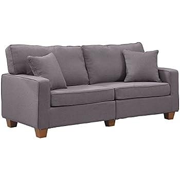Divano Roma Furniture 73 U2013 Inch Love Seat Linen Fabric Sofa, Light Grey