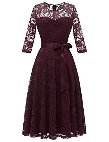 Dressystar 0017 Women's Elegant Floral Lace Dress 3/4 Sleeves Bridesmaid Midi Dresses Illusion Neckline Burgundy XL