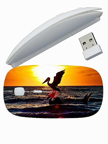 Cool Print Custom ( Animals pelican bird flying night silhouette sea sunset ) Gaming Mouse Wireless Mice Suitalbe Girl's 2.4 GHz -3 Adjustable DPI Levels - Nano USB wireless receiver -