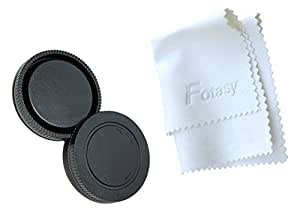 Fotasy RCNEX Sony E-Mount NEX System Camera Body Cap and Lens Rear Cap with Premier Lens Cleaning Cloth