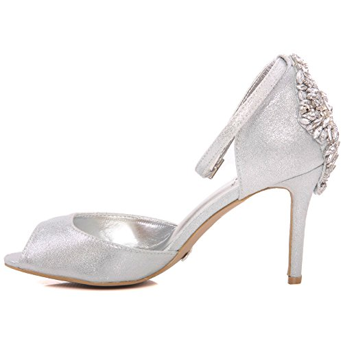 Shoes 3 8 Size Women Sandals Carnival Unze Heel Uk Mid Coral' Wedding Silver ' High Soiree together Evening Get Party pgngU6T