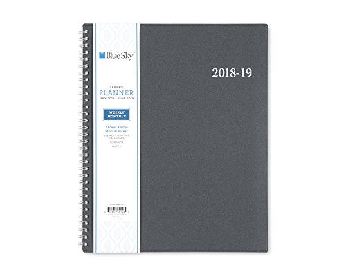 Collegiate Weekly - Blue Sky 2018-2019 Academic Year Weekly & Monthly Student Planner, Flexible Cover, Twin-Wire Binding, 8.5