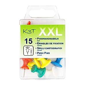 K3T - Chinchetas (tamaño XXL, 15 unidades), varios colores