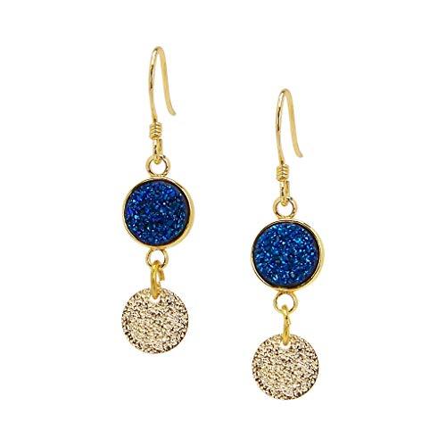 Charlene K Blue Druzy Dangle Earrings with Gold Vermeil Disc ()