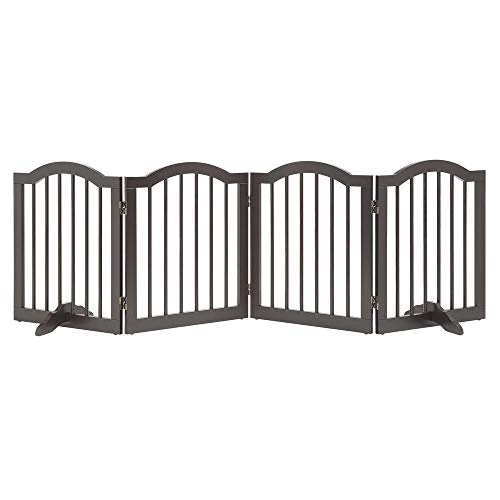 Folding Pet Gate - unipaws Freestanding Arch Step Over Dog Gate with Support Feet, Assembly-Free, Sturdy Wooden Structure, Foldable Design, Espresso (4 Panels, 20 inches Wide, 24 inches High)