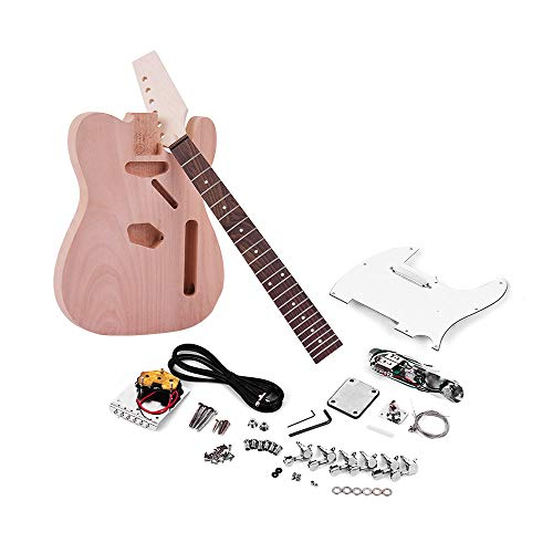Muslady TL Tele Electric Guitar Unfinished DIY Kit Mahogany Body Maple Wood Neck Rosewood Fingerboard ()
