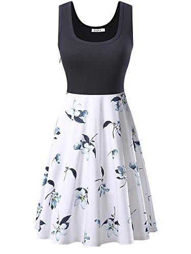 KIRA Women's Vintage Scoop Neck Midi Dress Sleeveless A-line Cocktail Party Tank Dress (Large, 6500-4)