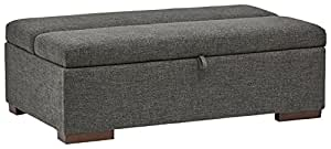 "Rivet Fold Modern Ottoman Sofa Bed, 48""W, Dark Grey"
