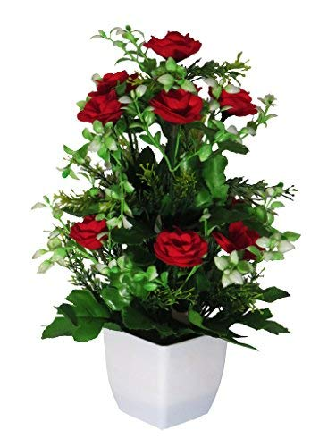 259 & eMani Corp. Artificial Flower Pot with Flower | Flower vase for Home Decoration | Flower Pot with Artificial Flowers| Artificial Flower with ...