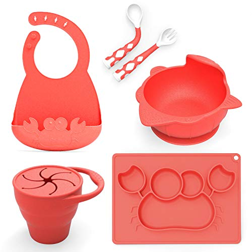 Baby Feeding Set,Including Bowl with Suction, Dish, Bendable Fork and Spoon, Adjustable Baby bib, and Snack Cups. Harmless, Silicone, Easy to Clean Again, Perfect Infant Baby Shower Gift – Red