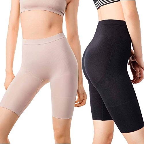 +MD Women's Tummy Control High Waist Shapewear Panties Mid Thigh Rear Lifting Shaper Slimmer Power Shorts XXLarge Black/Nude