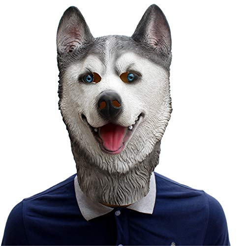 QIAO Halloween Props Cosplay Huskies Animal Mask Party Tidy Latex Props Fancy Dress Headgear (Color : A) -