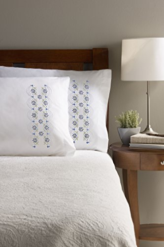 Bucilla Stamped Cross Stitch Pillow Cases (30 x 20-Inch), 47645 Daisy Lace