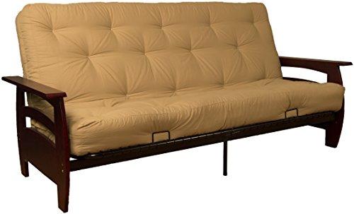 Rumba True 8-inch Loft Cotton/Foam Futon Sofa Sleeper Bed, Queen-size, Mahogany Arm Finish, Twill Khaki Upholstery