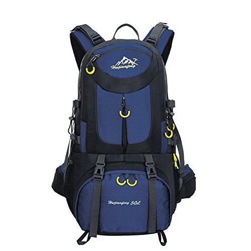 HWJF Al aire libre alpinismo bolsa de senderismo viaje de gran capacidad mochila paquete de camping para hombres y mujeres Dark Blue