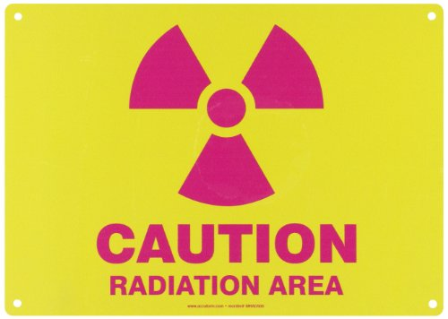 """UPC 846642010584, Accuform Signs MRAD500VA Aluminum Safety Sign, Legend """"CAUTION RADIATION AREA"""" with Graphic, 10"""" Length x 14"""" Width x 0.040"""" Thickness, Magenta on Yellow"""