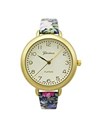 Rosemarie Collections Women's Round Face Flower Band Geneva Fashion Watch