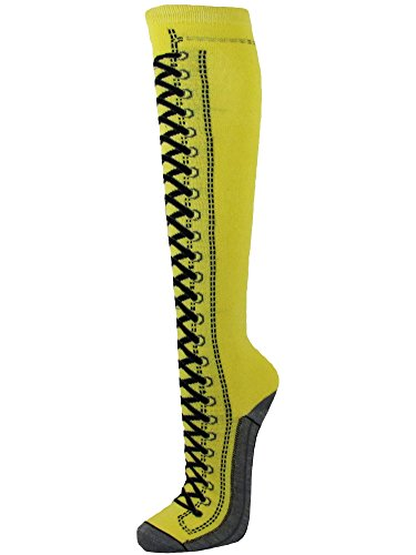 Sneaker Lace-Up Pattern Premium Quality Cotton Yellow Knee High Socks(9-11) ()