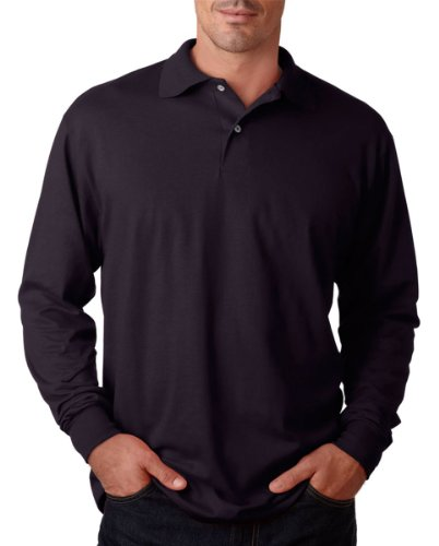 Cotton Long Sleeve Polo T-shirt (Jerzees 5.6 oz., 50/50 Long-Sleeve Jersey Polo with SpotShield L BLACK)