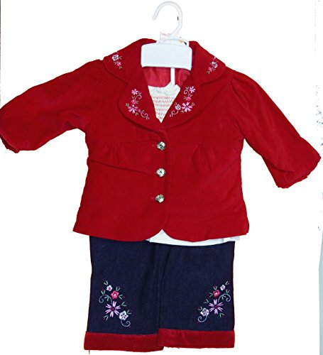 Nannette Baby Girl 3 pc Floral Set Red Jacket, White Blouse and Jeans Flower (12 Month)