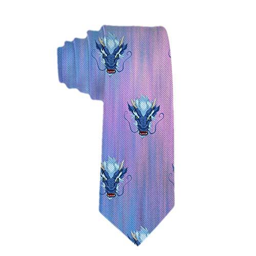 Handmade Ties For Men:Skinny Woven Slim Tie Mens Ties-Thik Necktie Chinese Dragon Head Blue Neckties For Every Outfit