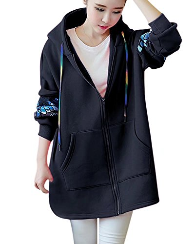 Women's Long Sleeves Casual Butterfly Print Warm Hooded Hoodie Zip Up Long Sweatshirt Jacket Coat Outwear with Pockets, Black Butterfly, Tag XL = US M(10)