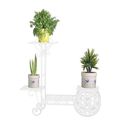 """JOANNA'S HOME 4-Tier Plant Stand Outdoor,Metal Flower Stand,Plant Shelf Stand in Royal Carriage Syle for Garden Living Room Balcony Porch 29.1""""x10.2""""x 28.3"""" White - 1 Pack ()"""