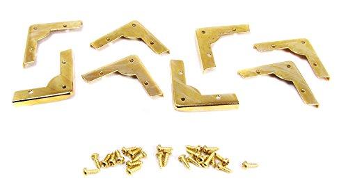 8pc. Decorative Low-Profile Brass-plated Box Corners w/mounting screws