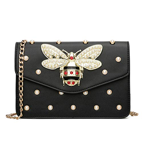 EROUGE Fashion Designer Shoulder Bags, Pu Leather Handbags Bee Crossbody Bag with Pearl Decorations (Black)