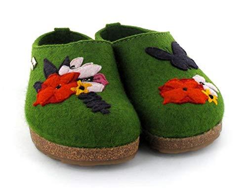 Haflinger Wool Felt Clogs | Grizzly Garden, Grass Green, 39