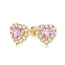 Bling Jewelry 14K Gold Simulated Pink Topaz CZ Heart Baby Screw Back Studs