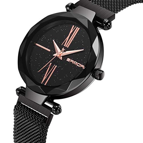 Round Dial Shining (Fashion Shining Round Dial Luxury Woman Girls Wrist Watch Quartz Movement Water Resistant Casual Watch Steel Wristband)