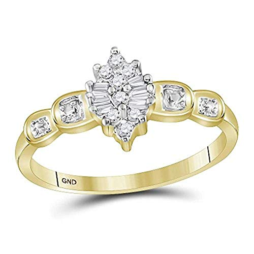 Roy Rose Jewelry 10K Yellow Gold Womens Round Baguette Prong-set Diamond Oval Cluster Ring 1/10-Carat tw ()