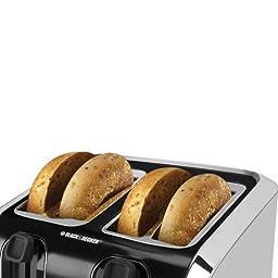 BLACK+DECKER TR1400SB 4-Slice Toaster, Bagel Toaster, Black/Stainless Steel