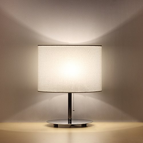 HAITRAL Bedside Table Lamps - Minimalist Desk Lamp with Metal Base Fabric Shade Oval Simple Night Light Lamp for Living Room, Kids Room, Bedroom, Dorm, Office, White