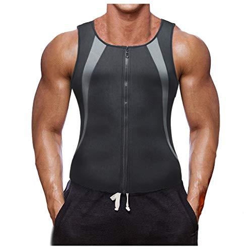 0ebe22f2af2f15 Sumen Men Waist Vest for Weightloss Hot Neoprene Corset Body Shaper Zip  Tank Top(Black,XXXL)