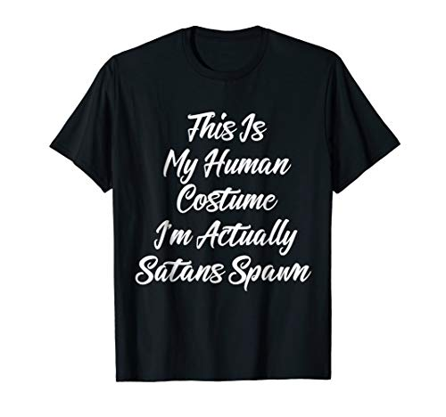 Mens Human Costume Satans Spawn Shirt Lucifer Devils Shirt 2XL Black